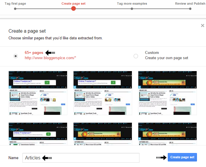 create page set