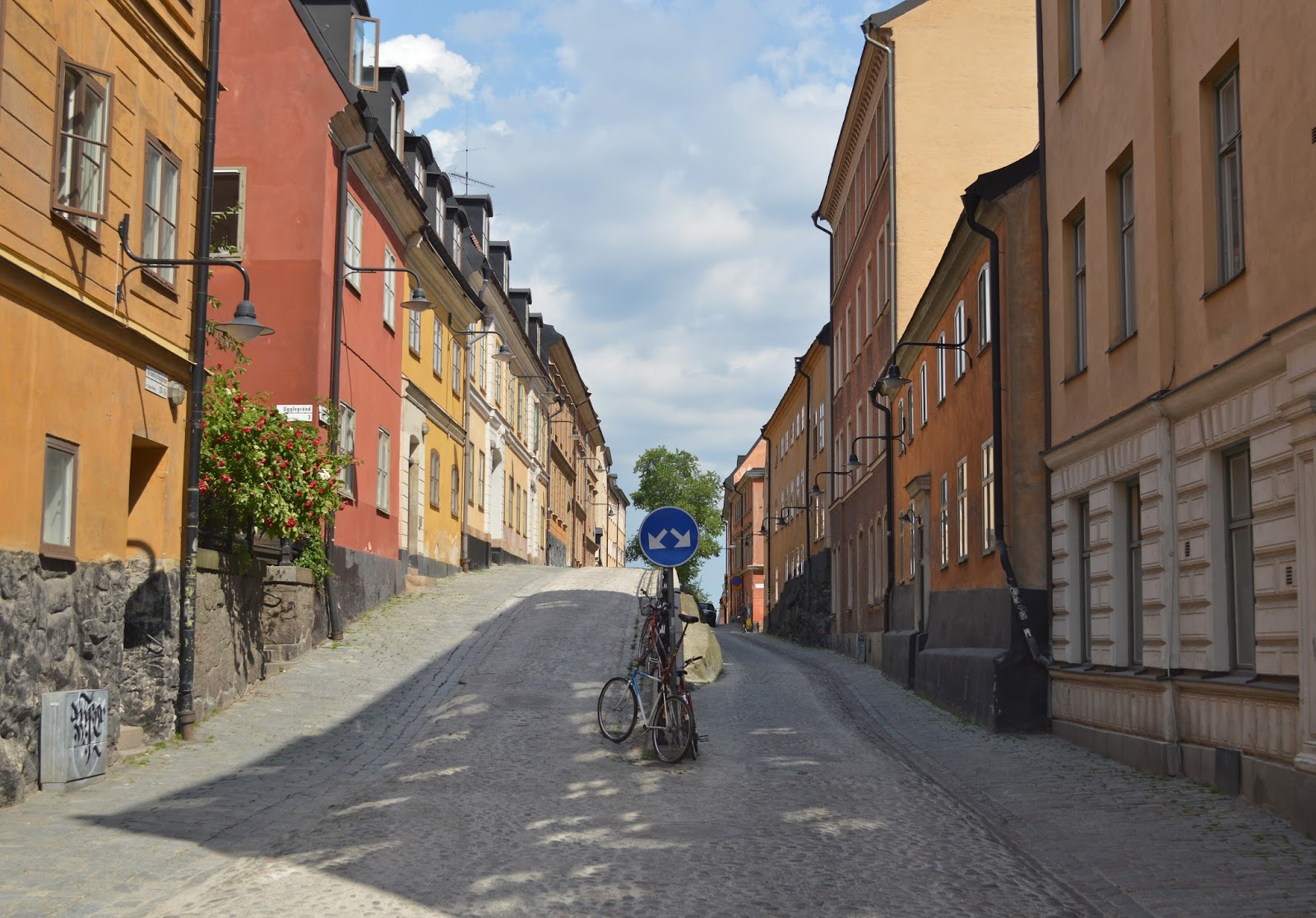 Pastel coloured houses in Sodermalm, Stockholm