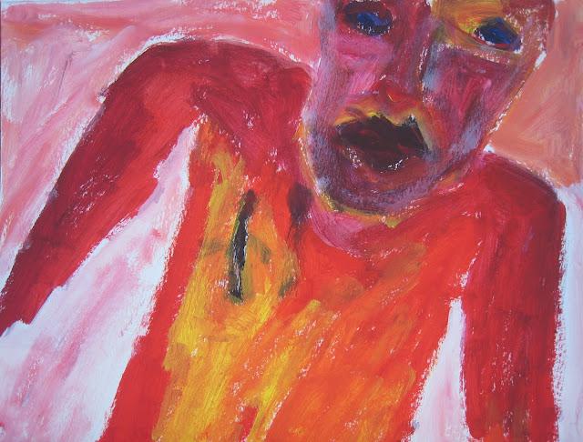 Pintura que muestra a una figura con el torso rojo y naranja de lado, con la cabeza cortada y la mirada azul, obra de Emebezeta