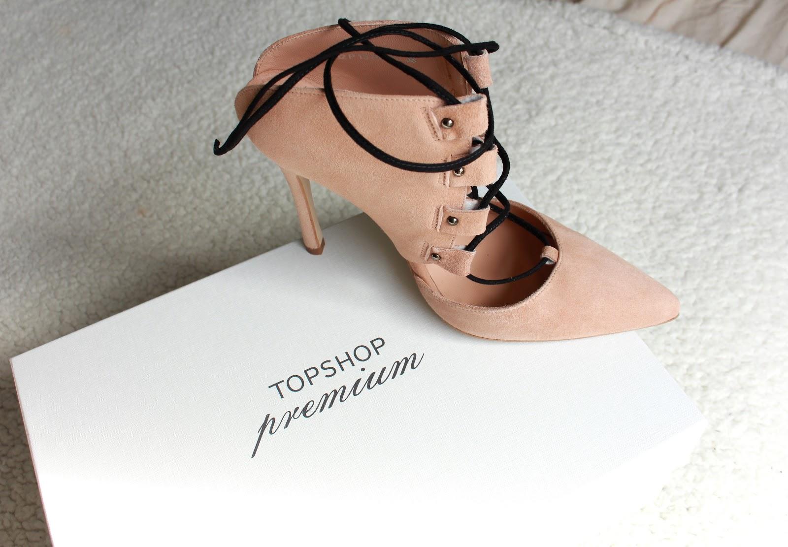topshop premium, krystel couture, ghillie shoes, lace up heels, suede,