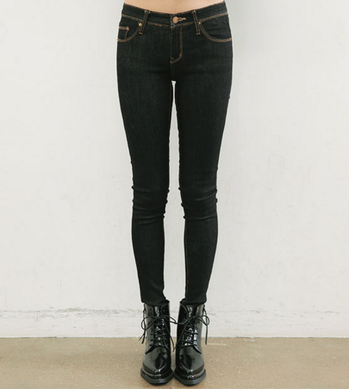 Contrast Stitch Skinny Denim Pants