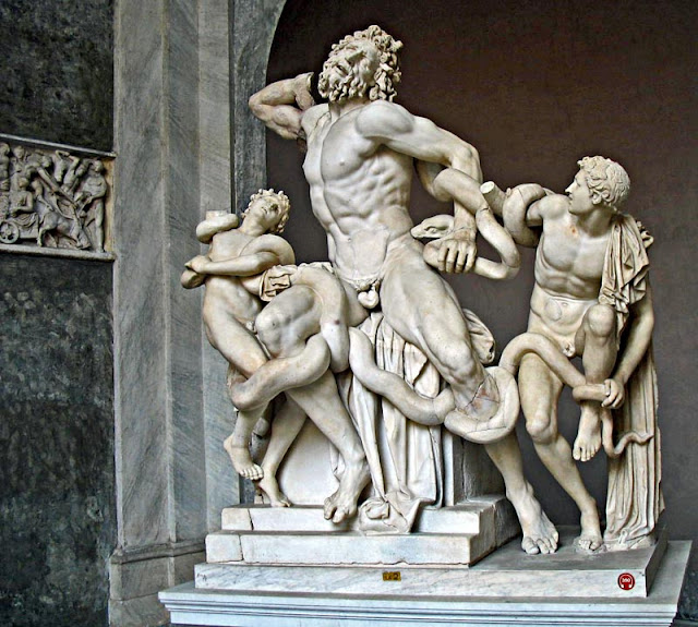 white marble statue of Trojan priest Laocoon and sons