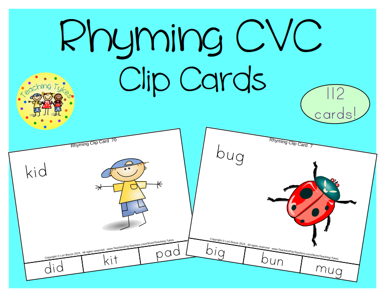 https://www.teacherspayteachers.com/Product/Rhyming-CVC-Clip-Cards-1728483