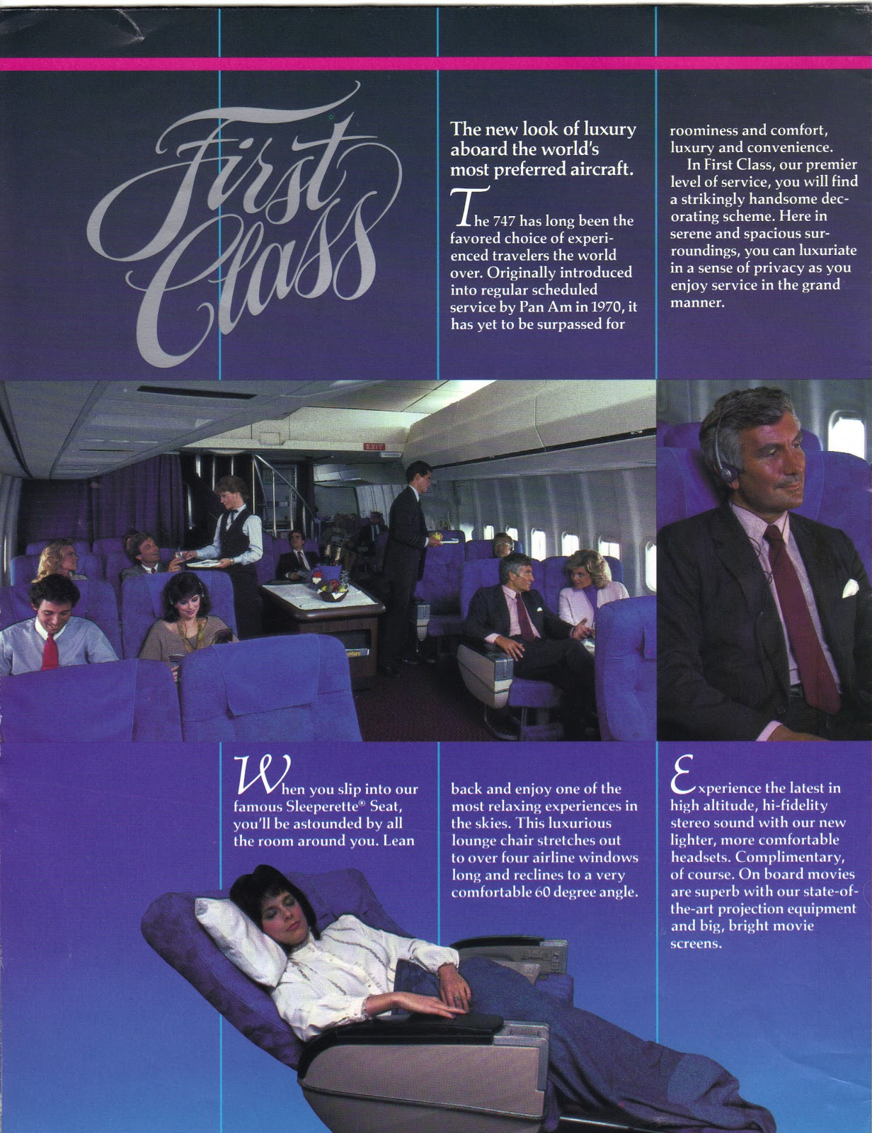 airlines past present pan am first class s pan am first class 1980 s