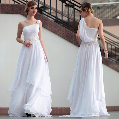 White One Shoulder Floor Length Dress