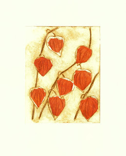 Drypoint and chine colle handmade print |Chinese lanterns physalis