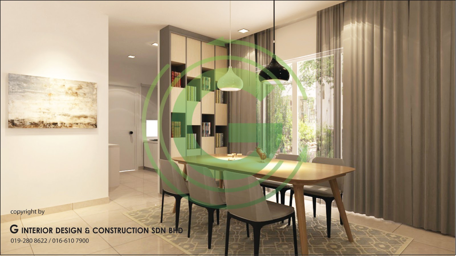 Double Story 3D Design Living Hall Dining Hall