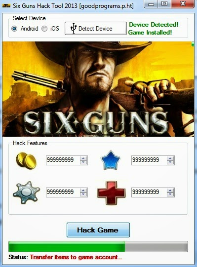 Six Guns - Hack Pack 2014 Main screen