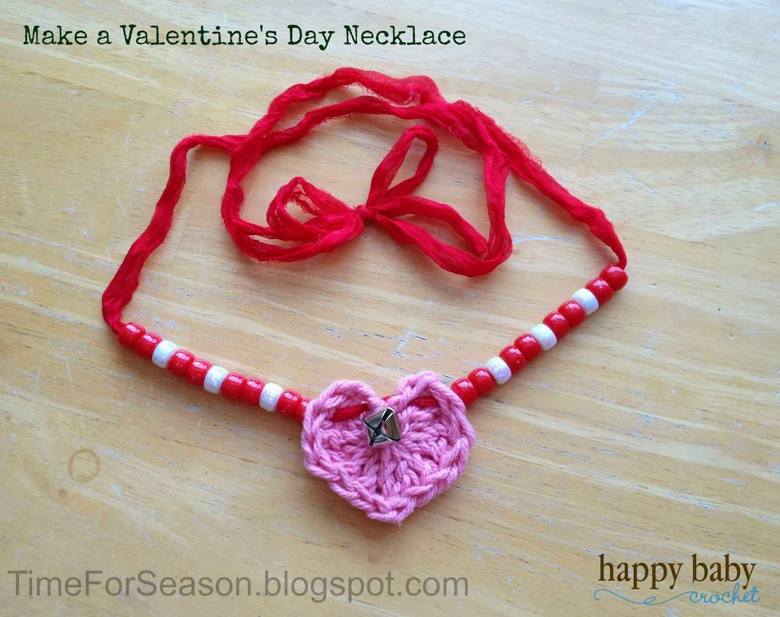 Make A crochet heart Valentine's Day Necklace