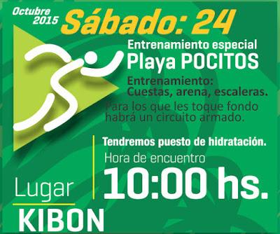 Entrenamiento gratuito de Motociclo Sports en playa Pocitos (Kibón, sáb 24/oct/2015)