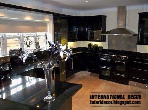 modern black kitchen designs ideas furniture 2014