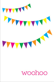 color pennant banner with woohoo on the bottom