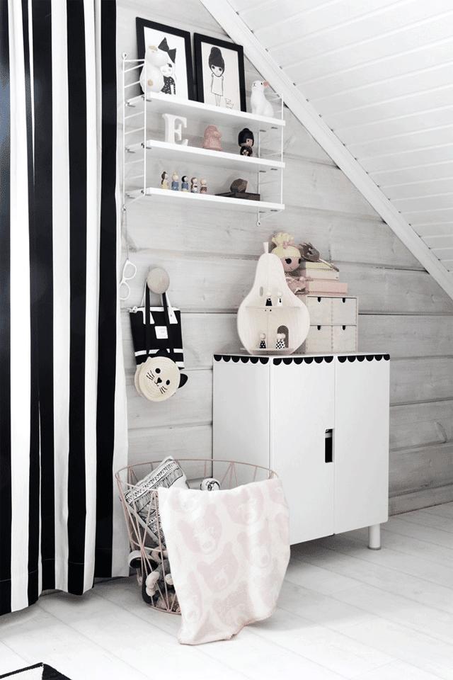 habitacion-infantil-blanco-negro-madera