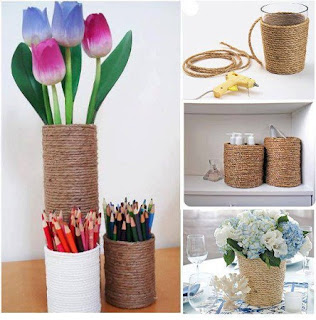 Como Hacer Floreros con Vasos y Cuerda, Ideas Faciles de Decoracion