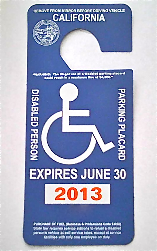 View from the Handicapped Space: Disabled Parking Placards ...