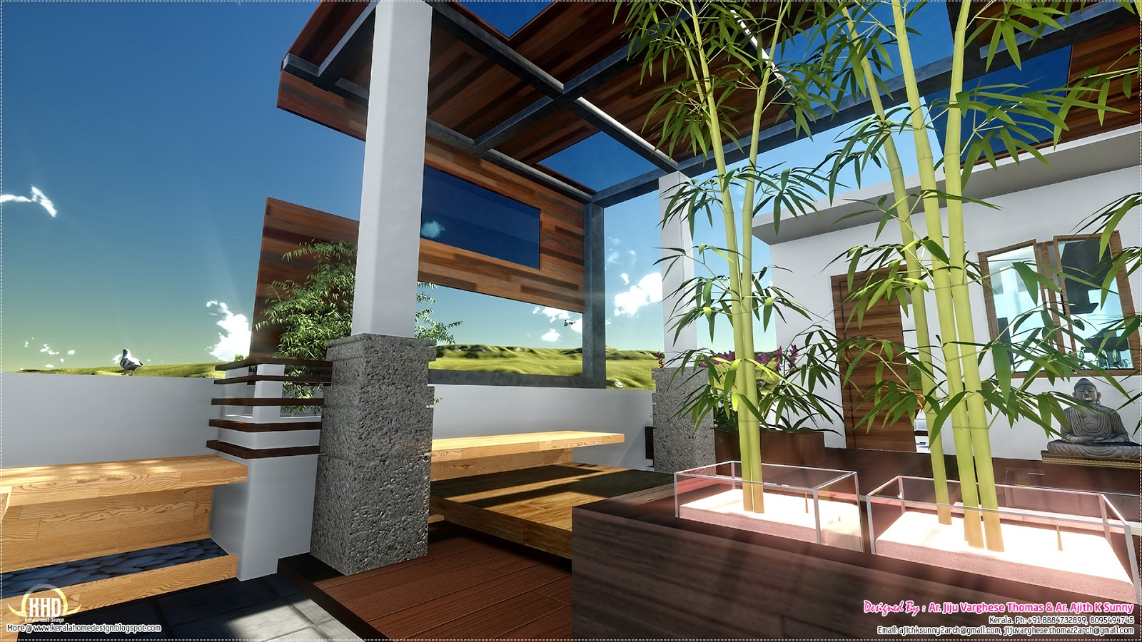 Contemporary style home landscape design in 800 for Kerala style garden designs