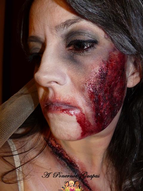 Maquillaje halloween novia zombie Oriflame quemadura corte