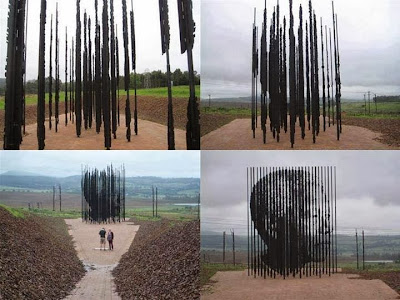 Nelson Mandela monument at the site in South Africa where he was arrested 50 years ago.