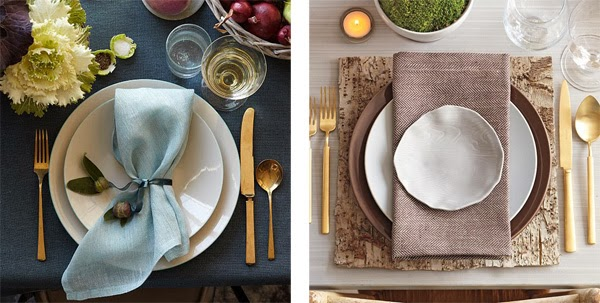 Play around with napkin placement and placemat ideas. The linen napkin on the left is casually folded and cinched with a ribbon embellished with acorn ... & MARTHA MOMENTS: Setting the Table
