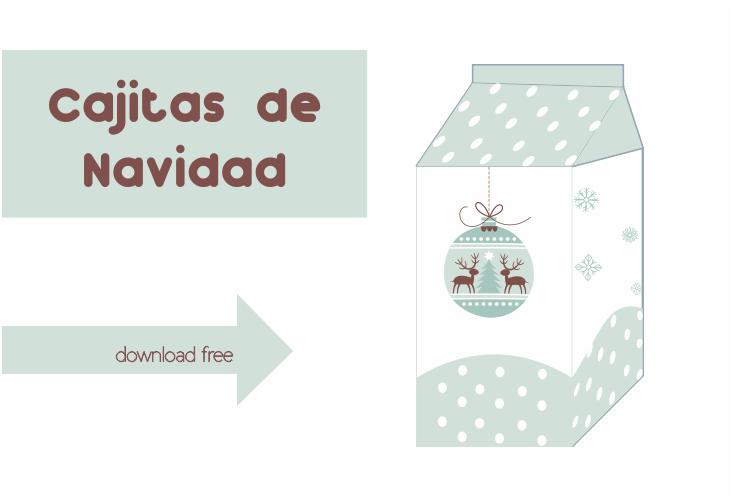Plantilla Caja Brick de Leche Navidad