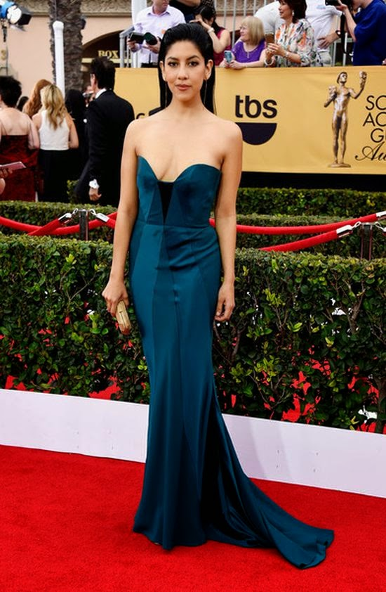 Nice! Stephanie Beatriz could win us over with this floor-length gown at the Screen Actors Guild (SAG) Awards in Los Angeles on Sunday, January 25, 2015.