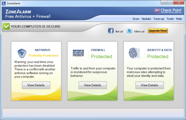 ZoneAlarm Free Antivirus Plus Firewall 2013 - Main Interface