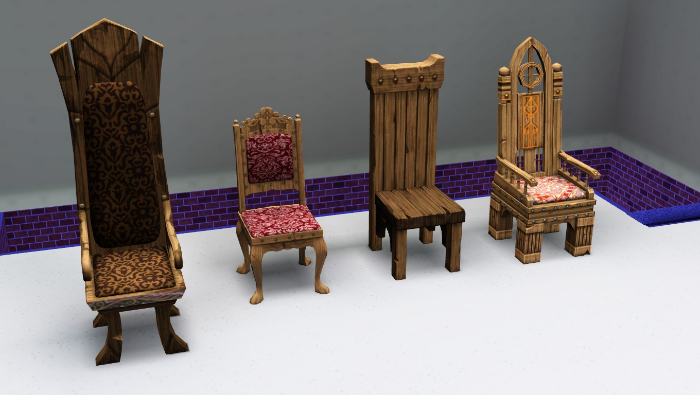 My sims 3 blog sims medieval living and dining chairs by for Medieval living room furniture