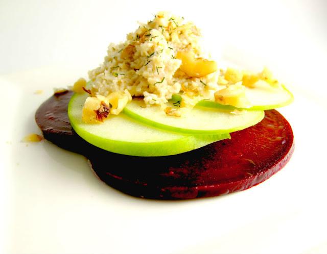 marinated beet dill cheese green apple salad raw food recipe gluten free healthy