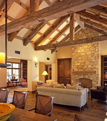 Champagne and chevron exposed beams for Exposed beam ceiling