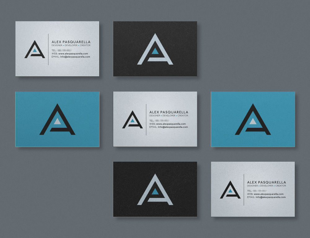 Personal business cards for graphic designer and developer