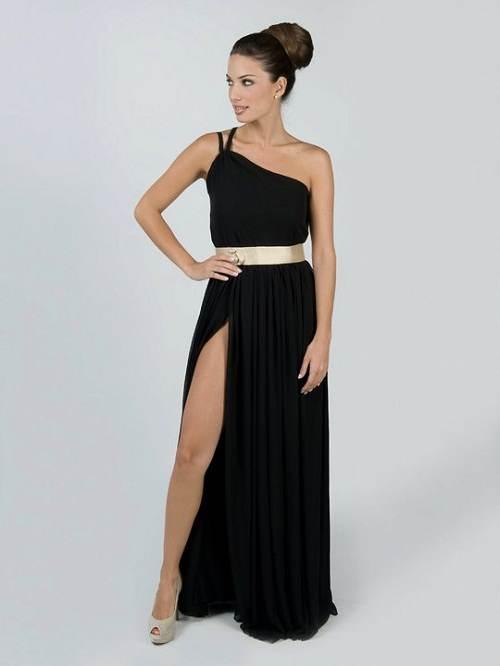 Vestido largo negro con dorado