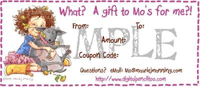 Heidy heeft een maandelijkse blogcandy van Mo Manning, en ik doe mee!!
