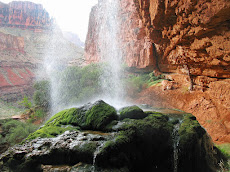 The moss-covered travertine dome of Ribbon Falls, Grand Canyon, AZ