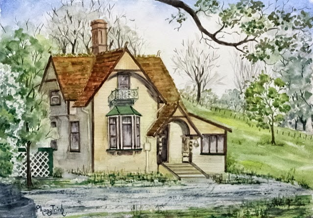 Wonderful Watercolor Outdoor Painting of  Cornwall Park, Auckland Historic Hua Lodge 29.5x42cm