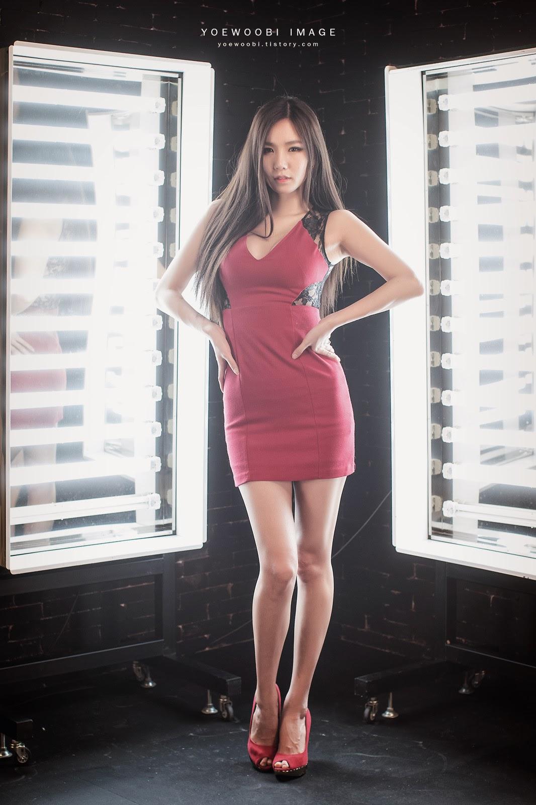 Lee Ji Min Sexy Red Dress
