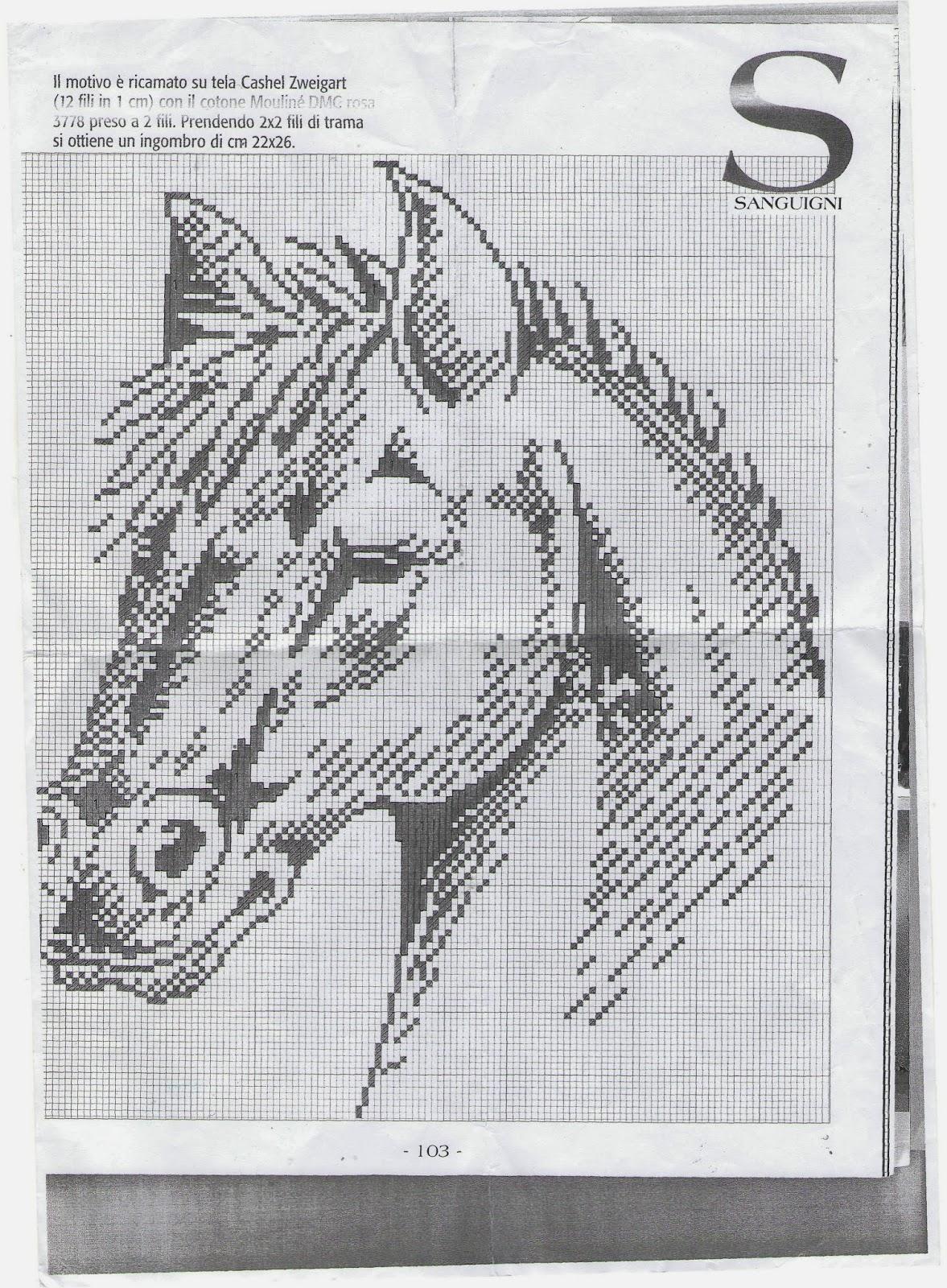 Лошадь схема вышивки монохром 91
