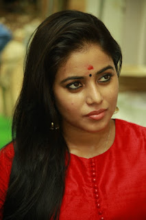 Poorna in Red Salwar kameez