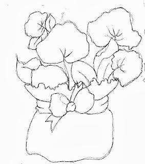 risco de cachepo com hortencias para pintar