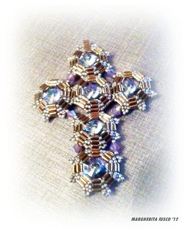 75marghe75 bead by bead tutorial bugle beads croce e orecchini