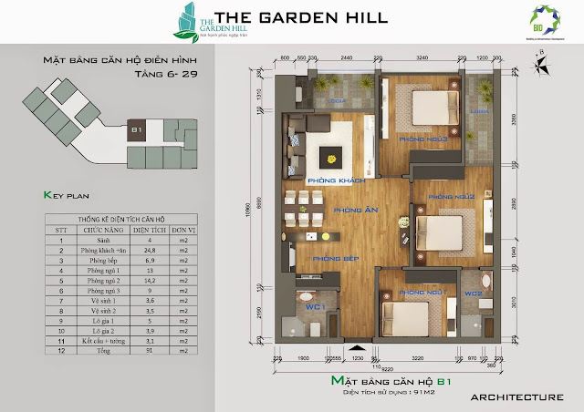 Căn B1 tầng 6 Garden Hill - 99 Trần Bình