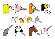 . es decir los sonidos que imitan las voces de los animales. (sonidos animales)