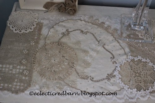 Eclectic Red Barn: Doily dresser scarf , top