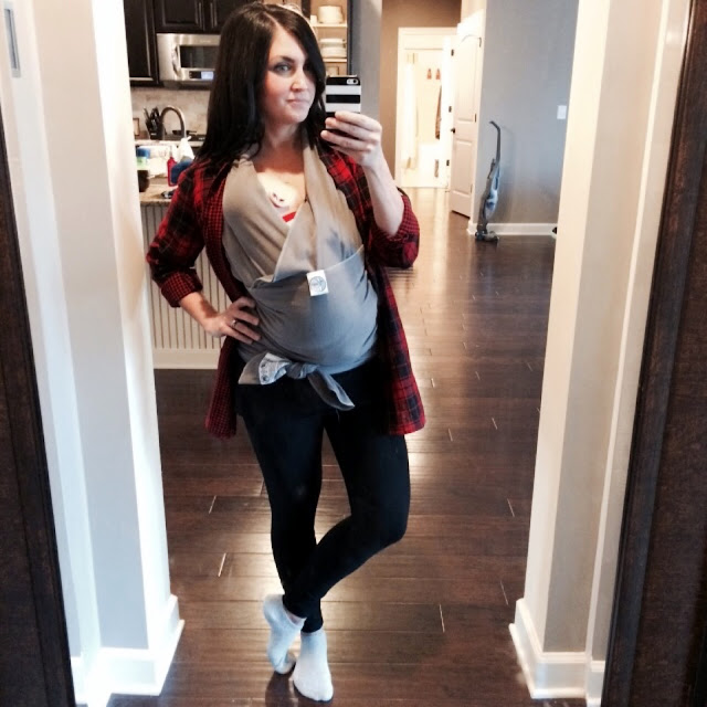 Stilettos and Diapers: Red Plaid Shirt, Leggings, Moby Wrap