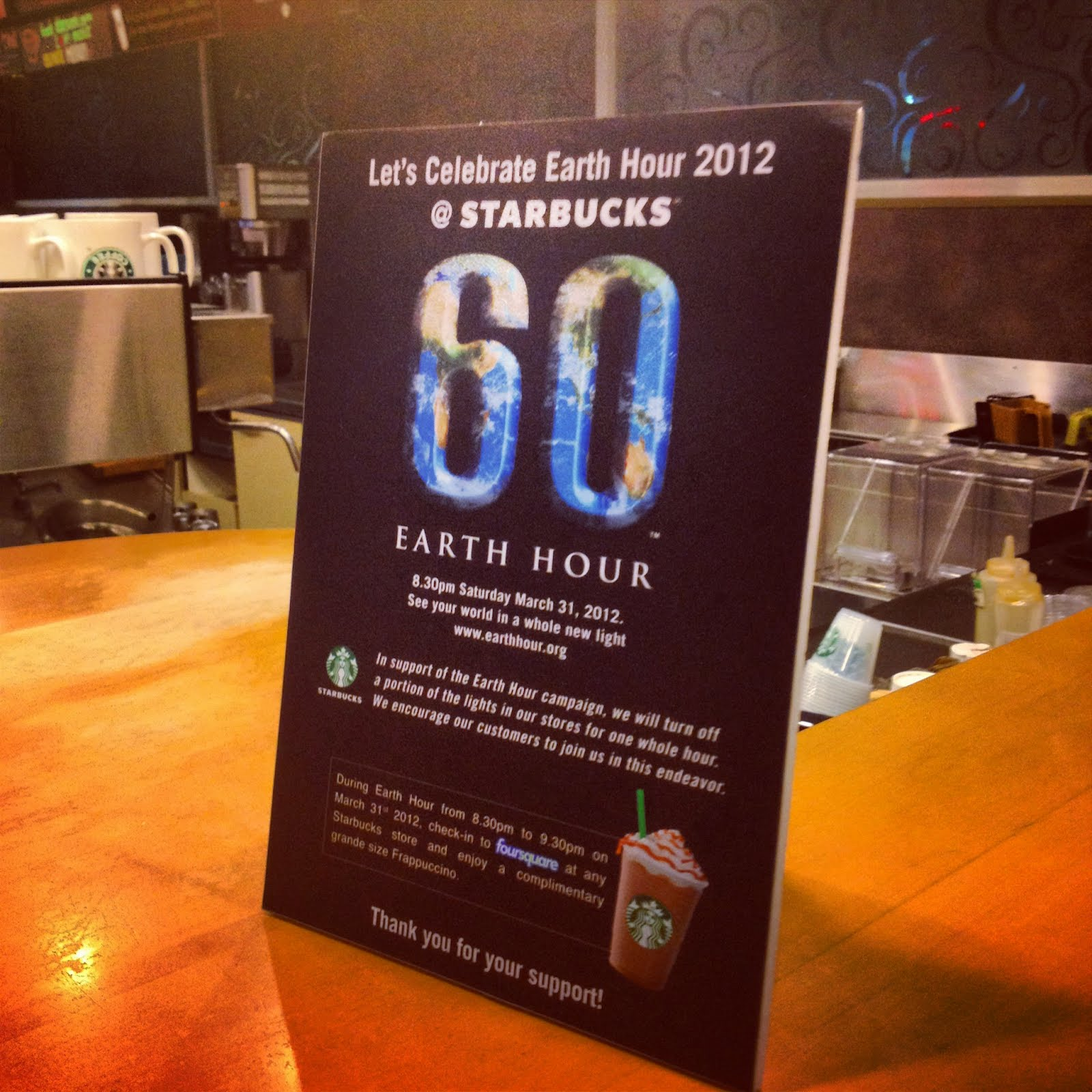 starbucks free grande java chip frappuccino earth hour