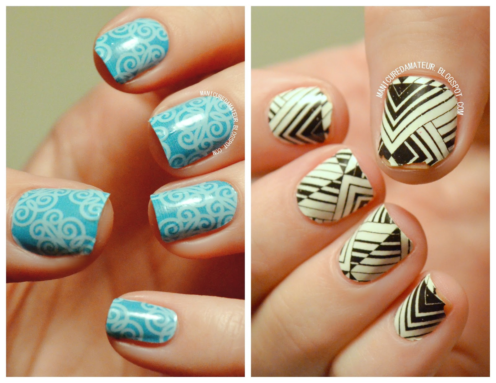 Left Incoco Nail Appliques In Spring Vines Right Sally Hansen Salon Effect Polish Strips Tri Bal It On