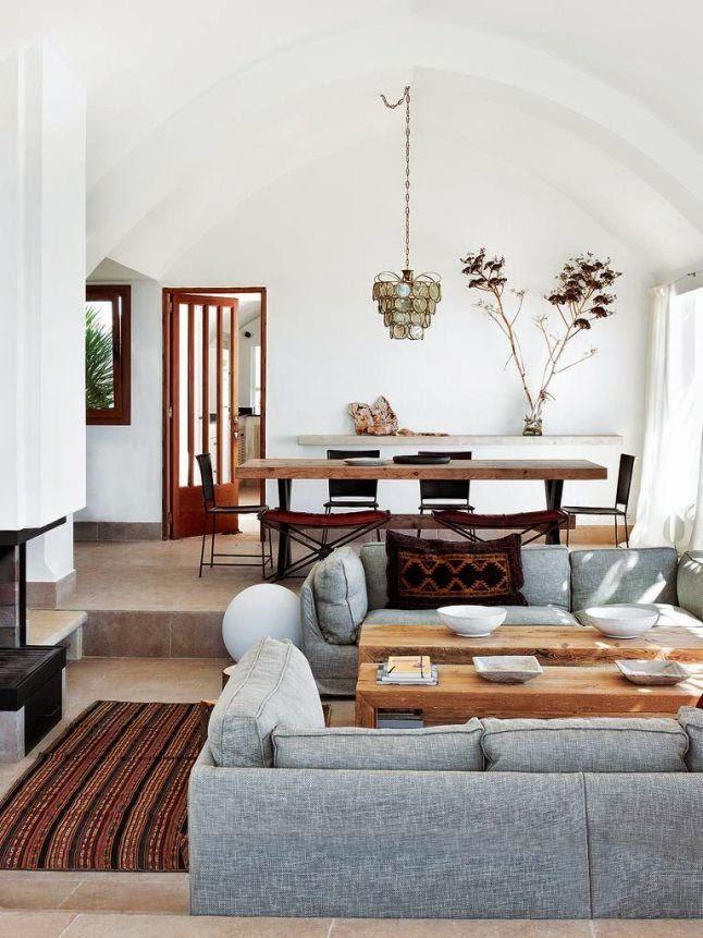 sofa gris composicion decoracion rustica
