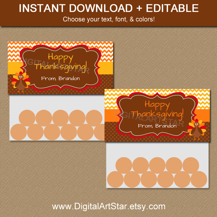 printable Thanksgiving bag toppers with editable text