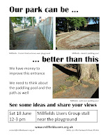 poster: Our park can be better than this - north entrance, paddling pool and path