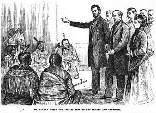 Mr. Lincoln tells the Indians how to get horses and carriages.