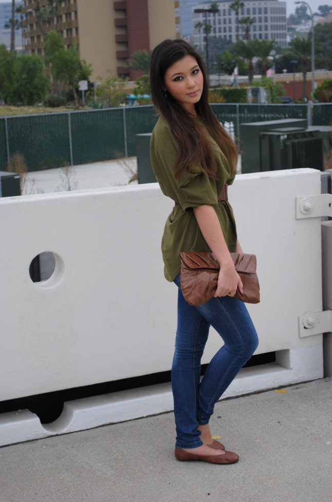 brown flats outfit
